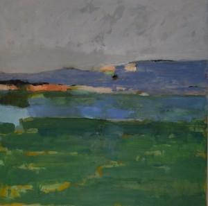 paysage vert huile sur toile 80x80