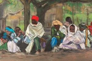 Ethiopie-Pèlerins sous un arbre