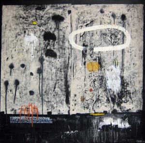 """""""Peinture Complète"""". Var 3 - Techniques mixtes / Collage / Encaustique sur toile - 100 x 100 cm"""