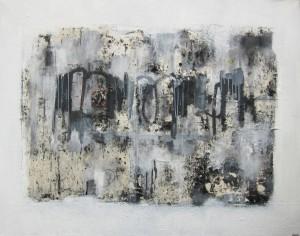 """""""Fragment d'un fil du temps"""". Var 2 - Techniques mixtes / Collage sur toile - 150 X 120 cm"""