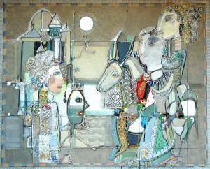 La noce - 100 x 80 cm - Technique mixte sur toile de lin