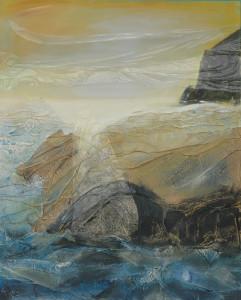 Pierre et eau 0. 100 x 81 technique mixte sur toile 2011