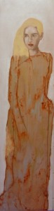 laurence chamagne buaillon, huile sur bois, personnage mosaique 14, 120 cm x 30 cm 1