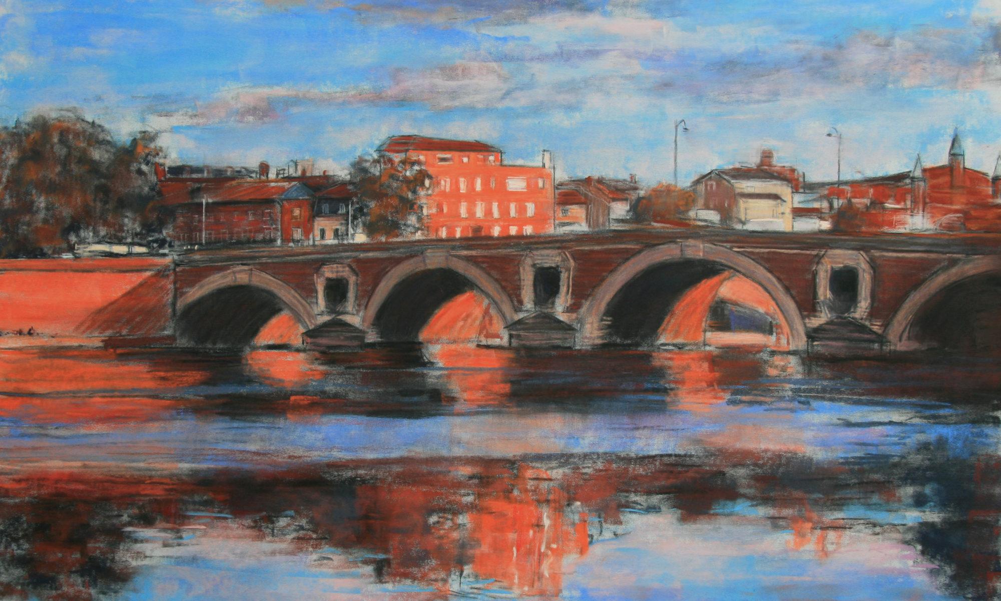 Annette Cunnac -Toulouse - Le Pont Neuf - Lumiere d'hiver - pastel - 70 x 50 cm - 2021